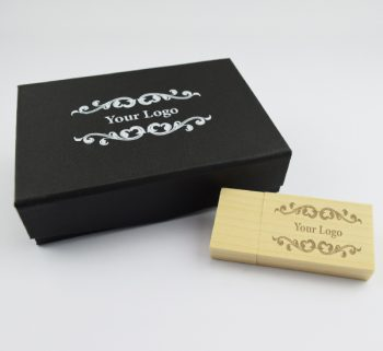 wooden block usb small black magnetic flip gift box