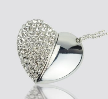 Crystal Heart USB Flash Drives