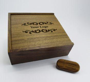 product 8gb dark wooden pebble usb large dark wooden slide photo print gift box