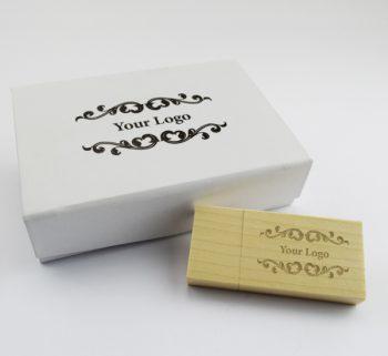 usb wooden block small white magnetic flip gift box